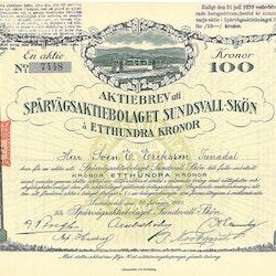 Spårvägs AB Sundsvall-Skön, 100 kr, 1923