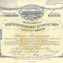 Spårvägs AB Sundsvall-Skön, 10 000 kr, 1923