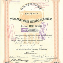 Stockholms Södra Spårvägs AB, 100 kr, 1887