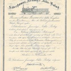 Söderhamns Jernvägs AB, 1 500 Rdr, 1858