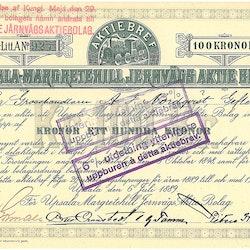 Upsala-Margaretehill Jernvägs AB, 100 kr, 1889