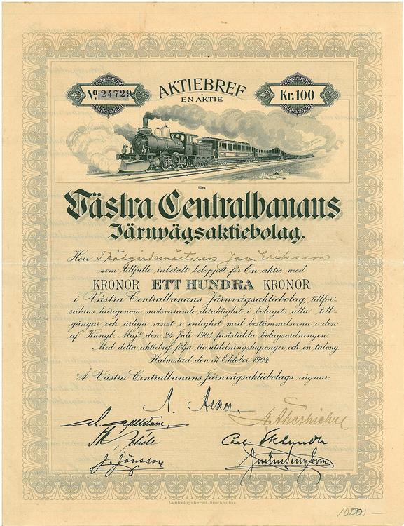 Västra Centralbanans Järnvägs AB, 100 kr, 1904
