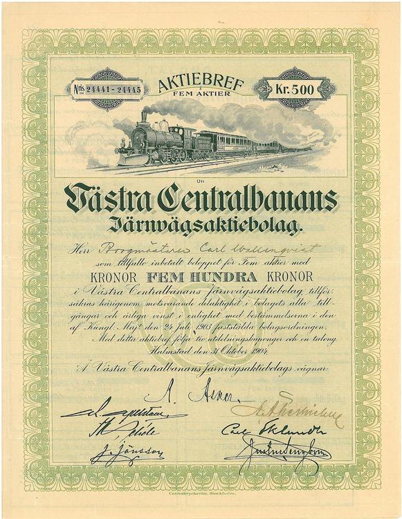 Västra Centralbanans Järnvägs AB,  500 kr, 1904