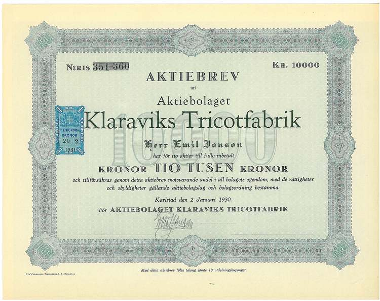 Klaraviks Tricotfabrik, AB