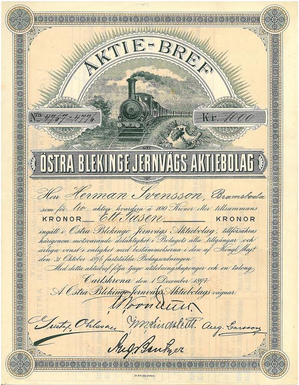 Östra Blekinge Jernvägs AB, 1 000 kr, 1897