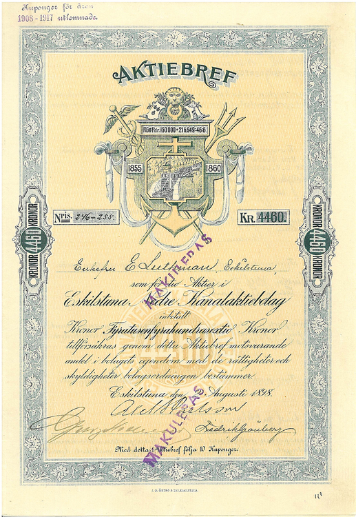 Eskilstuna Nedre Kanal AB, 4460 kr, 1898