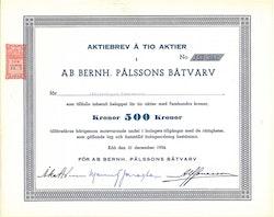Bernh. Pålssons Båtvarv, AB, 500 kr, 1954