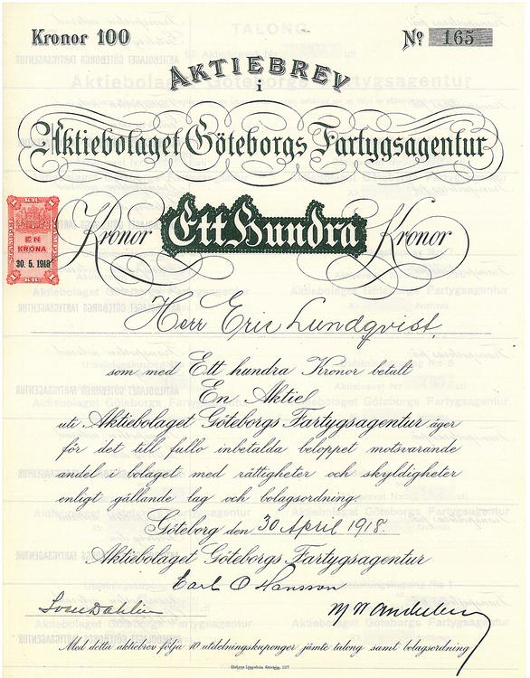 Göteborgs Fartygsagentur, AB 100 kr, 1918
