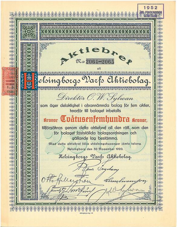 Helsingborgs Varfs AB, 2 500 kr, 1920