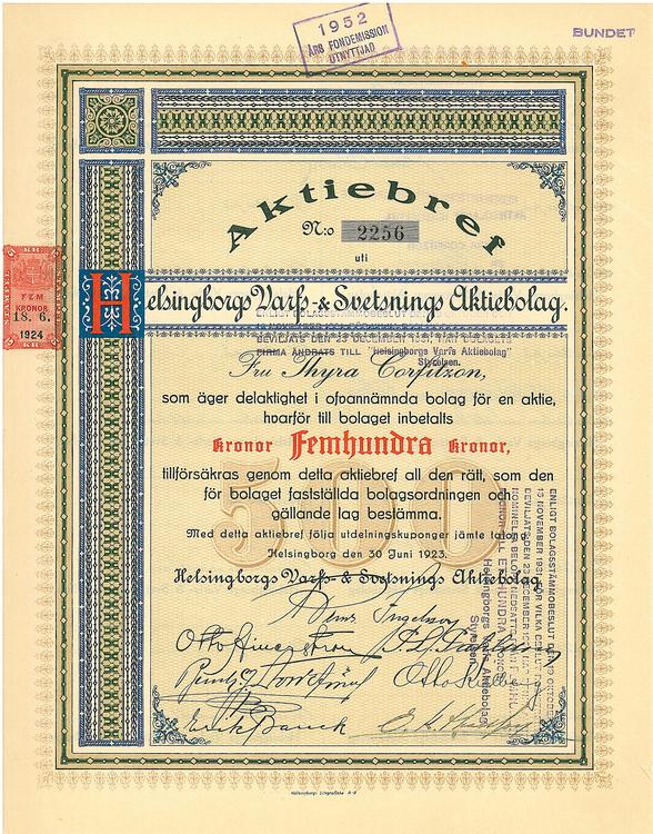 Helsingborgs Varfs AB, 500 kr, 1923
