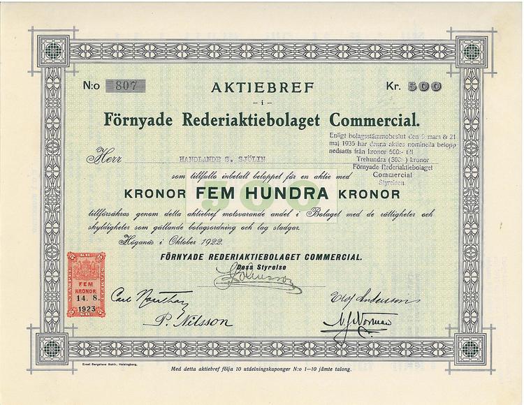 Förnyade Rederi AB Commercial, 500 kr, 1922