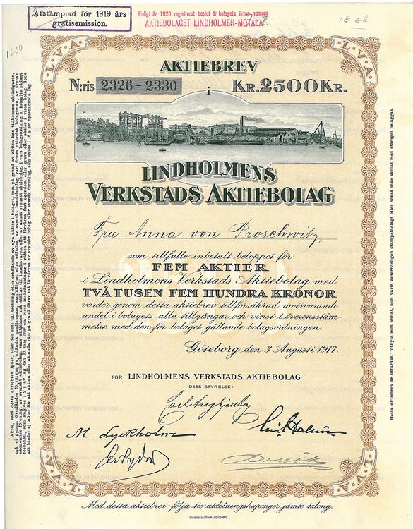 Lindholmens Verkstads AB, 2 500 kr