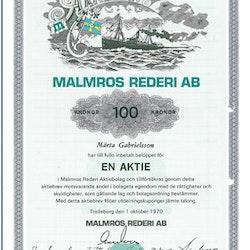 Malmros Rederi AB, 100 kr, 1970