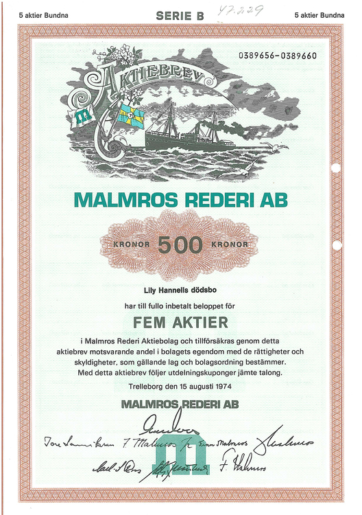 Malmros Rederi AB, 500 kr, 1974, Trelleborg