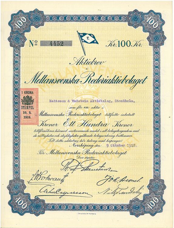 Mellansvenska Rederi AB, 100 kr, 1918