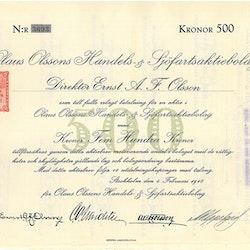 Olaus Olssons Handels & Sjöfarts AB, 500 kr, 1918
