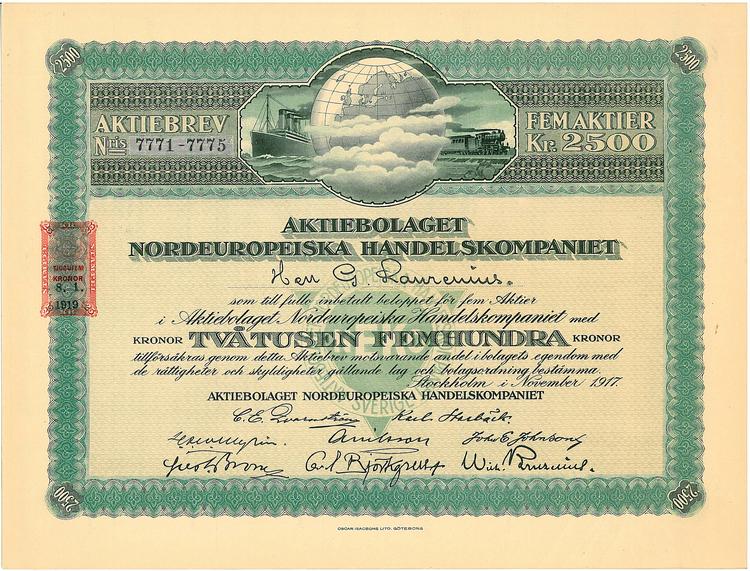 Nordeuropeiska Handelskompaniet, AB, 2 500 kr, 1917