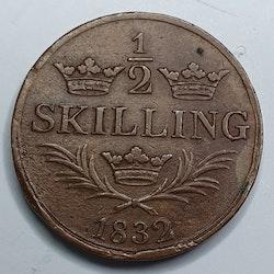 Karl XIV Johan 1/2 Skilling 1832