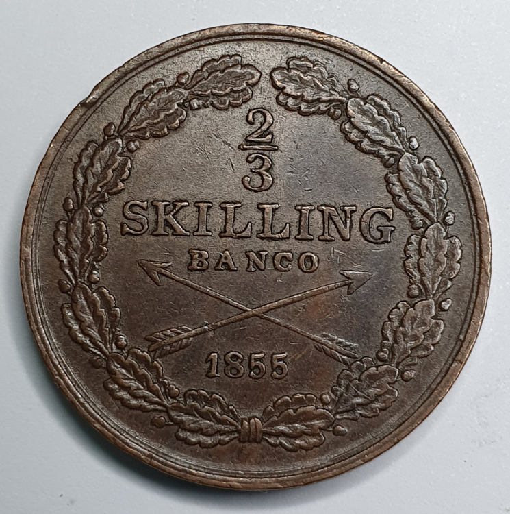 Oscar I, 2/3 Skilling Banco, 1855