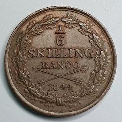 Oscar I, 1/6 Skilling Banco, 1844