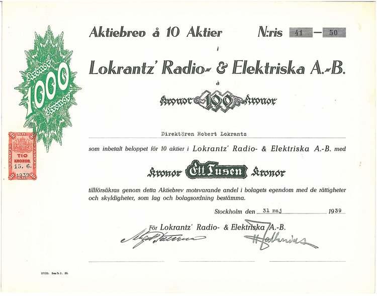 Lokrant´z Radio-& Elektriska AB