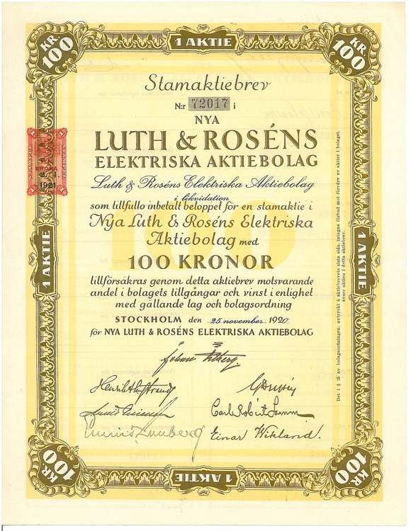Nya Luth & Rosens Elektriska AB, 100 kr
