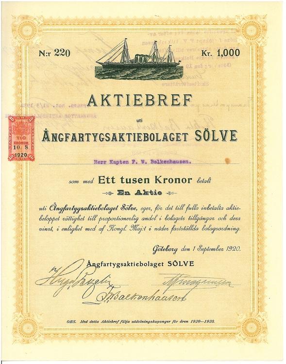 Ångfartygs AB Sölve, 1920
