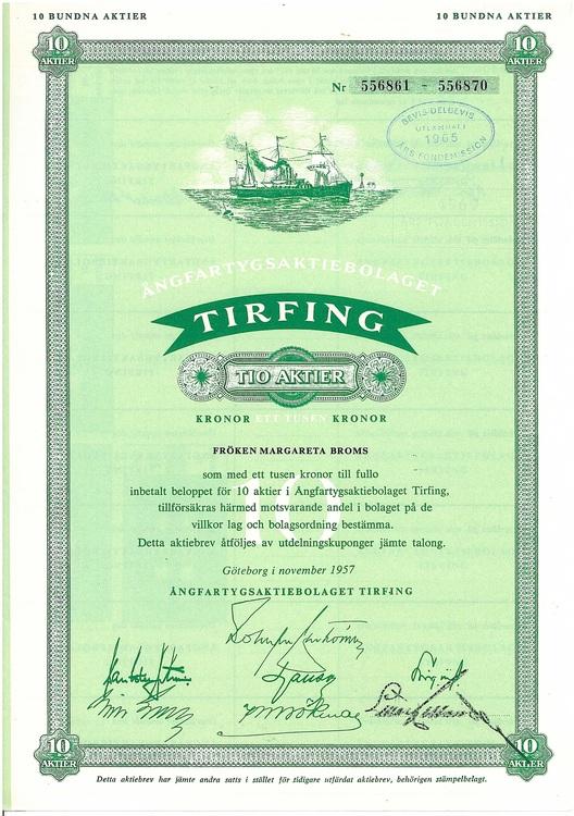 Ångfartygs AB Tirfing 1000 kr