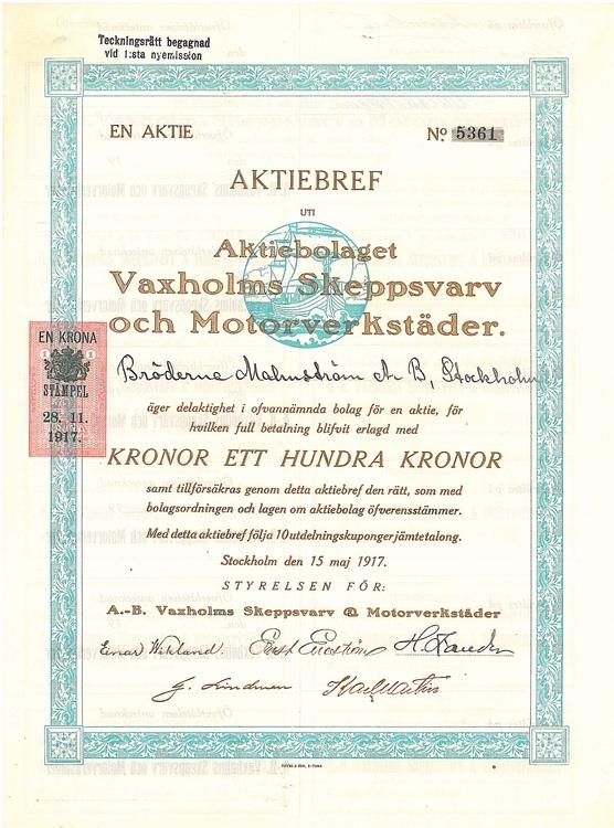 Vaxholms Skeppsvarv och Motorverstäder, AB