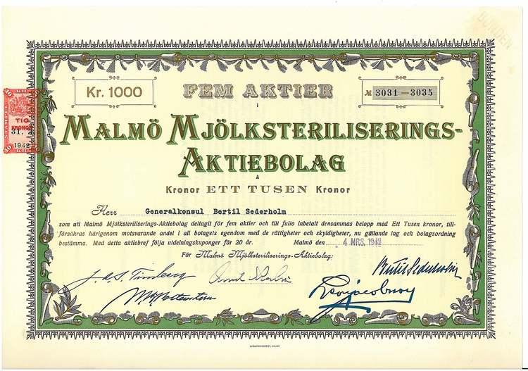 Malmö Mjölksteriliserings-AB, 1942