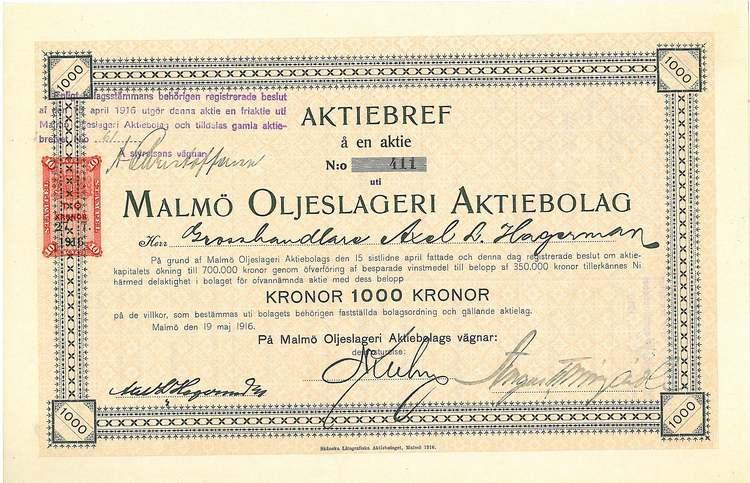 Malmö Oljeslageri AB, 1916