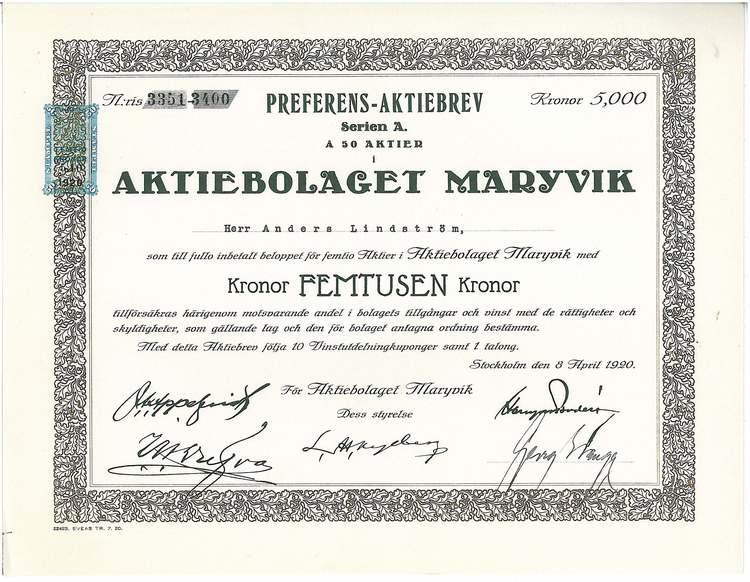 Maryvik, AB, 5000 kr