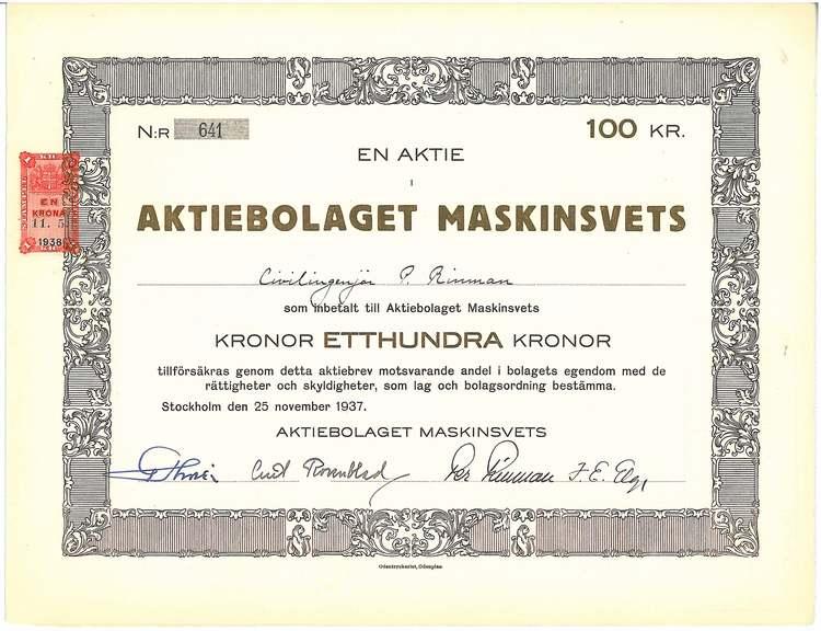 Maskinsvets, AB, 100 kr
