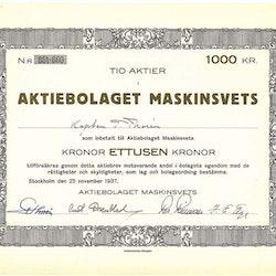 Maskinsvets, AB, 1000 kr