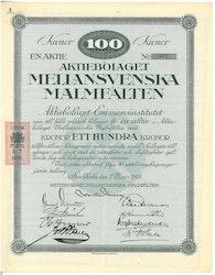 Mellansvenska Malmfälten, AB, 100 kr