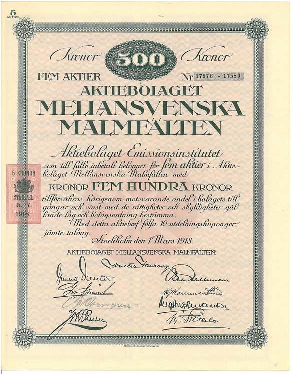Mellansvenska Malmfälten, AB, 500 kr