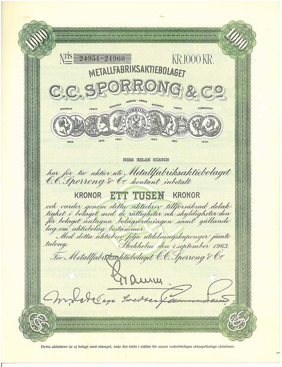 Metallfabriks AB C.C.Sporrong & Co. 1963