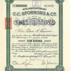 Metallfabriks AB C.C. Sporrong & Co, 1920