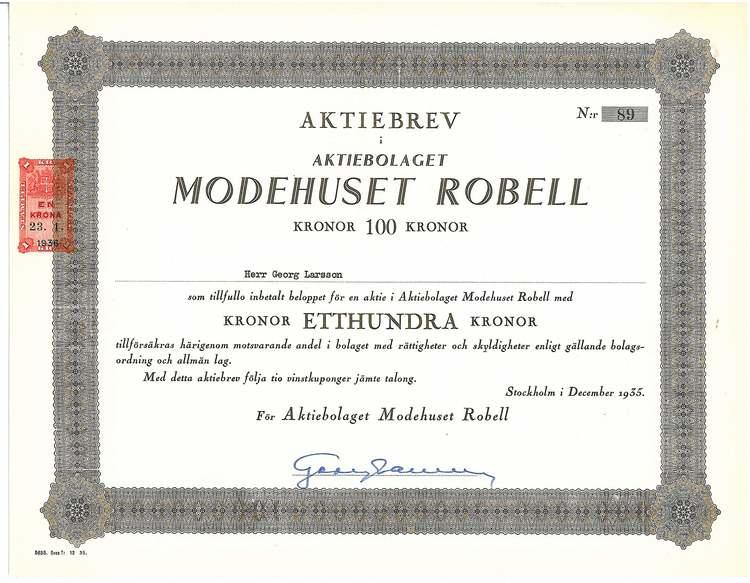 Modehuset Robell, AB