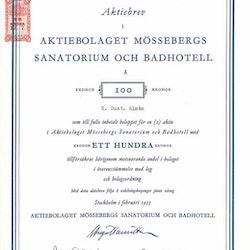 Mössebergs Sanatorium och Badhotell, AB, 100 kr