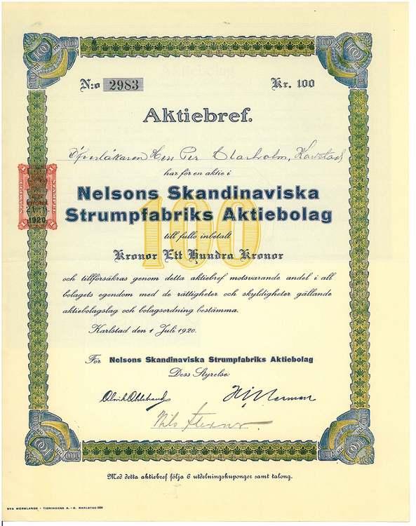 Nelsons Skandinaviska Strumpfabriks AB,1920