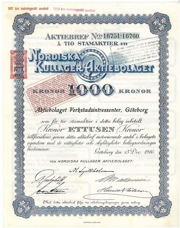 Nordiska Kullager, AB, 1.000 kr,