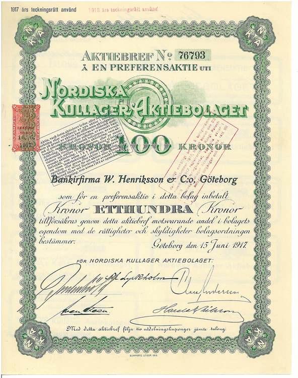 Nordiska Kullager, AB, 1917