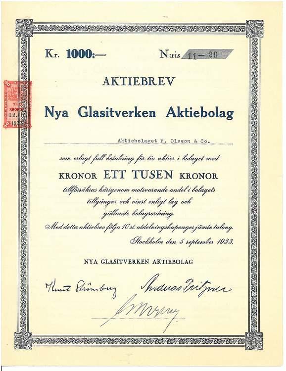 Nya Glasitverken AB, 1000 kr