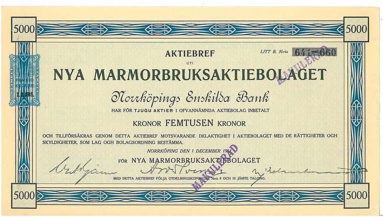 Nya Marmorbruks AB, 5000 kr