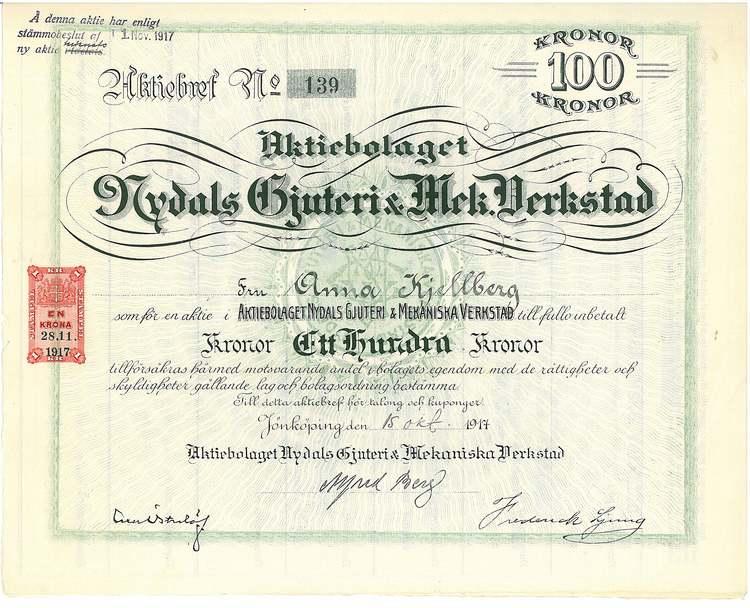 Nydals Gjuteri & Mek. Verkstad, AB, 100 kr