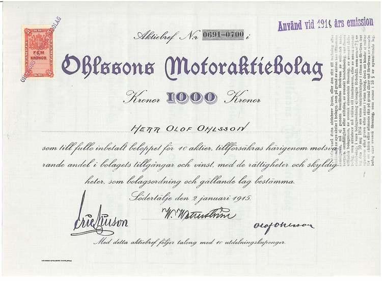 Ohlsson Motor, AB