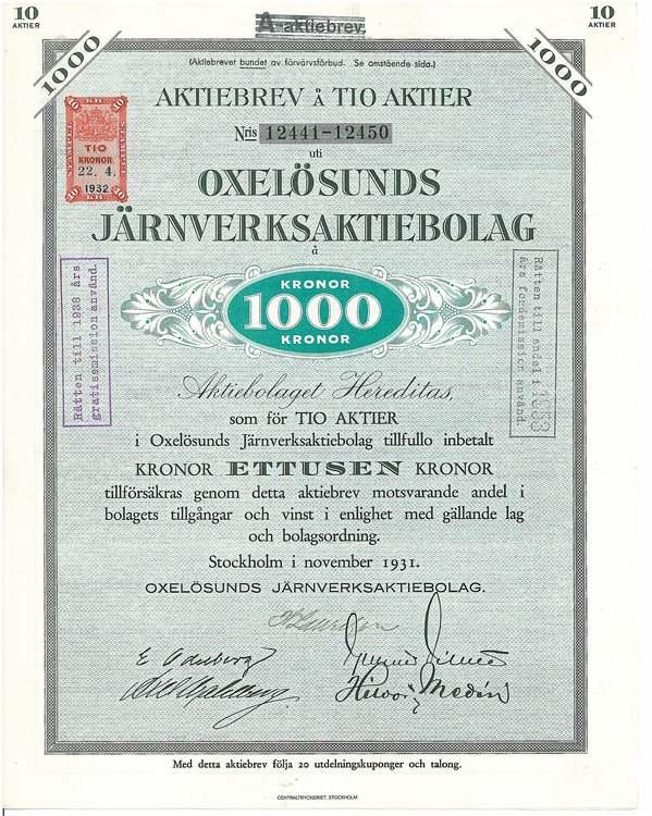 Oxelösunds Järnverks AB, 1000 kr