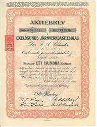 Oxelösunds Järnverks AB, 100 kr