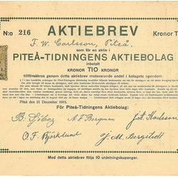 Piteå-Tidningens AB, 1915